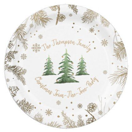 Christmas Trim The Tree Paper Plate Golden Pine Christmas Stickers Elegant Christmas Party Holiday Christmas Tree