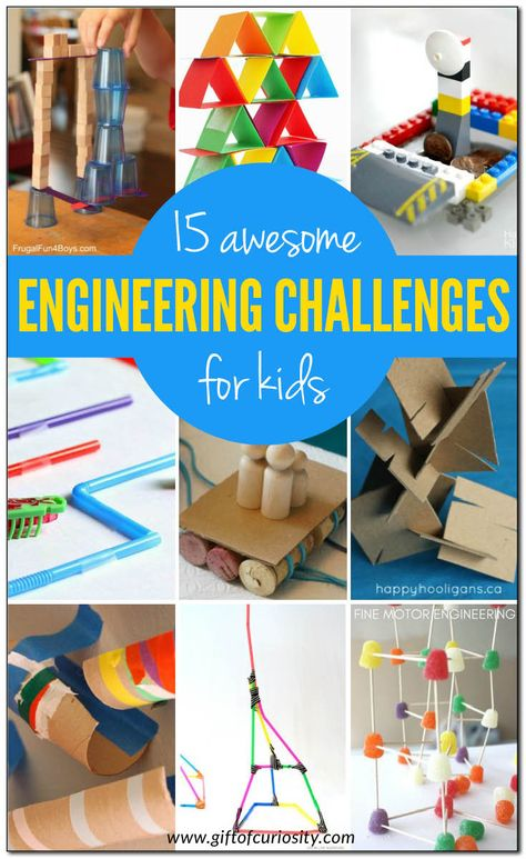 15 engineering challenges kids love STEAM is part of Science Gifts For Kids - 15 awesome engineering challenges for kids using a variety of materials (most of which you probably have at home already! Kid Science, Stem Science, Science Gifts, Science Experiments, Computer Science, Engineering Projects, Engineering Challenges, Science Projects, Engineering Technology