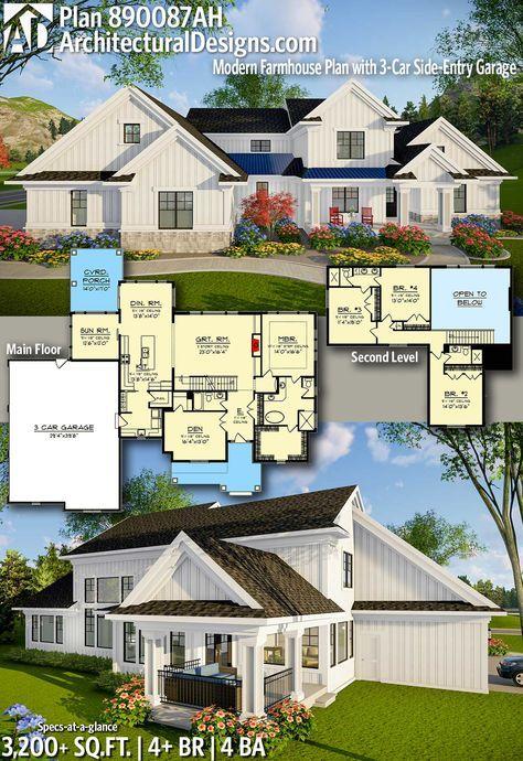 Plan 890087ah Modern Farmhouse Plan With 3 Car Side Entry Garage Modern Farmhouse Plans Farmhouse Plans Farmhouse Style House Plans