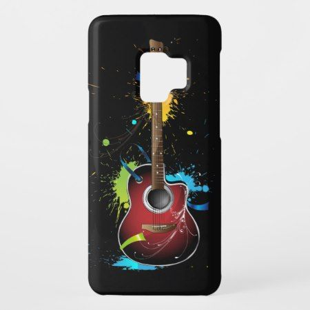Acoustic guitar with paint splatters Case-Mate samsung galaxy s9 case #guitar #guitarist #guitargifts #samsungcases