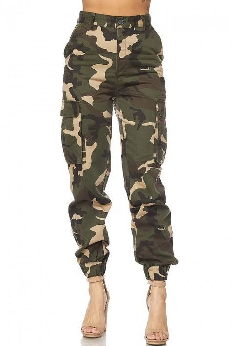 GENx Womens Military Look Comfortable Camouflage Cargo Jogger Pants 21524