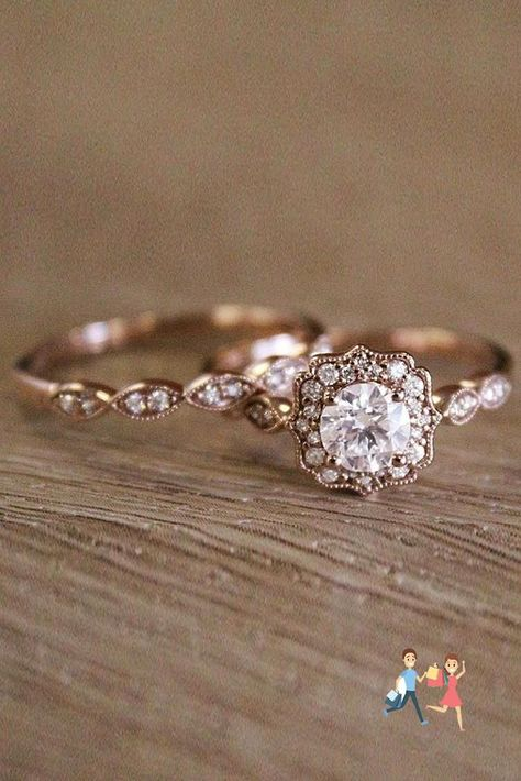 Wedding Rings Rose Gold, Wedding Rings Vintage, Wedding Rings For Women, Diamond Wedding Bands, Vintage Weddings, Solitaire Diamond, Silver Rings, White Rings, Gold Ring