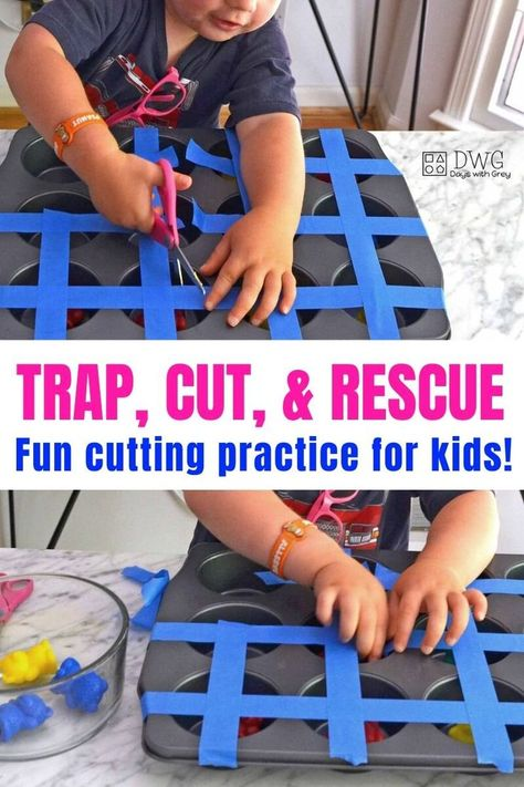 This cutting practice is a lot of fun! Inside this post, you will learn how to introduce scissors and where to store them. You don't want to miss this fine motor play for kids! Motor Skills Activities, Preschool Learning Activities, Infant Activities, Fine Motor Activity, Quiet Time Activities, Sensory Activities For Toddlers, Pre School Activities, Cutting Activities For Kids, Preschool Cutting Practice