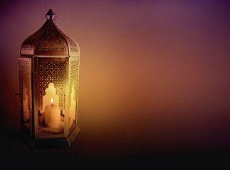 Ornamental Arabic Lantern With Burning Candle Glowing At Night And Glittering Golden Bokeh Lights Festive Greet Ramadan Photos Islamic Lantern Ramadan Lantern