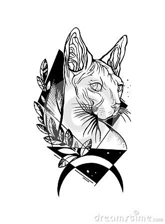 Sphynx Cat Amazing Line Art Vector Face Head Portrait Drawing With Moon Triangles And Leaves Hand Drawn Cat T In 2020 Sphynx Cat Tattoo Cat Tattoo Silhouette Drawing