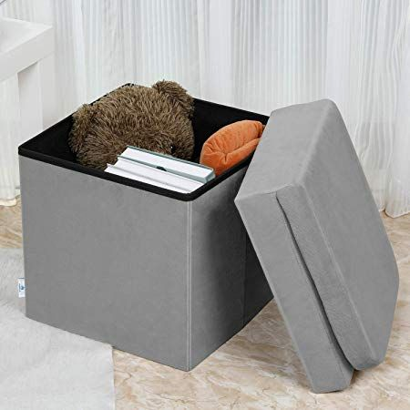 B Fsobeiialeo Velvet Storage Ottoman With Seat Back Folding Chair For Living Room Room Organizer Storage Cubes Toy Chest Storage Box Grey Medium