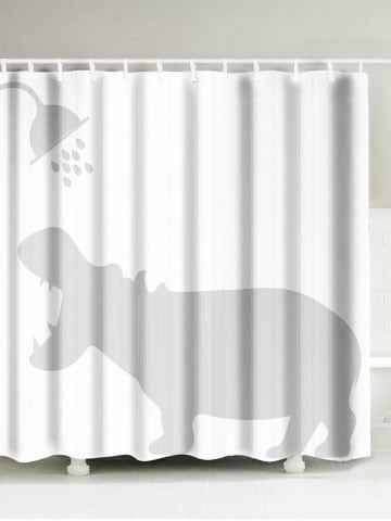 Hippo Shadow Water Resistant Fabric Shower Curtain Fabric Shower