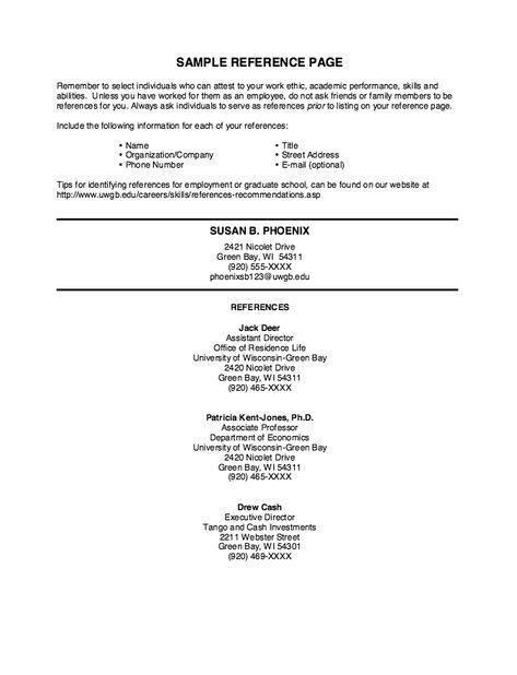 Sample Reference Page Resume -    resumesdesign sample - sample reference sheet for resume