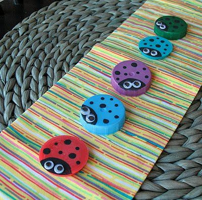 Ladybug bottle caps (from milk jugs, juice cartons, etc)