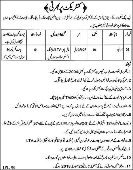 Jobs Faisalabad Division Public Sector Department On