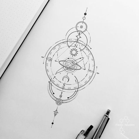 Tattoo Artist Fedor Nozdrin в Instagram: «Available design #universe #universetattoo #compass #compasstattoo #symbol...