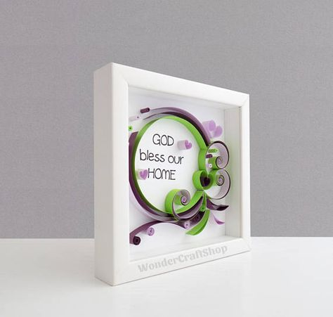 Framed Christian Scripture Wall Art God Bless our Home Quote - cute Religious New House Gift! WHAT IS QUILLING? This item is 100% handmade using a technique called quilling, where thin strips of paper are hand-rolled, shaped, and glued together to create decorative designs. The