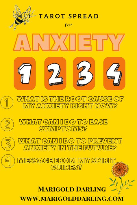 Tarot Spread for Anxiety. You know when anxiety creeps up on you and you can't seem to pinpoint where it is coming from? Use this spread to help you get cope when you are dealing with anxitety. #tarot #tarotspread #tarotspreadforanxiety #MarigoldDarling #Tarotreader #FreeTarotSpread #TarotReading