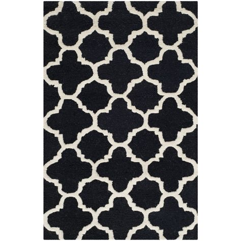 Safavieh Handmade Cambridge Moroccan Black Wool Accent Rug (2'6 x 4') (CAM130E-24), Size 2'6 x 4' (Cotton, Trellis)