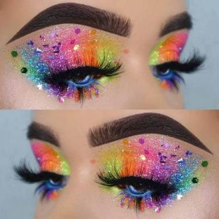 Makeup Festival Rainbow 61 Super Ideas Rave Makeup Rainbow Makeup Eye Makeup