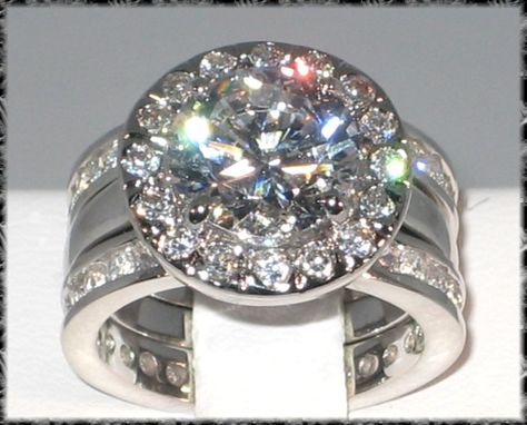 unique engagement wedding ring sets   ... lab Diamond Platinum EP Engagement Bridal Wedding Ring Set - Size 9