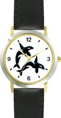 Two Orcas or Killer Whales - JP - WATCHBUDDY® DELUXE TWO-TONE THEME WATCH - Arabic Numbers - Black Leather Strap-Size-Children's Size-Small ( Boy's Size & Girl's Size ) WatchBuddy. $49.95. Save 38% Off!