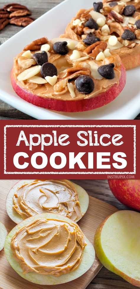 "Easy and fun snack ideas for kids! My kids love these apple slice ""cookies"". They are the perfect healthy after-school snack that you don't have to feel guilty about. Super quick and fun for adults, too! Snacks easy Healthy & Easy Snack Ideas For Kids Healthy Meal Prep, Healthy Snacks For Kids, Healthy Snack Recipes, Quick And Easy Snacks, Snack Ideas For Kids, Healthy Kids Snacks For School, Kids Fun, Keto Recipes, Recipes Dinner"