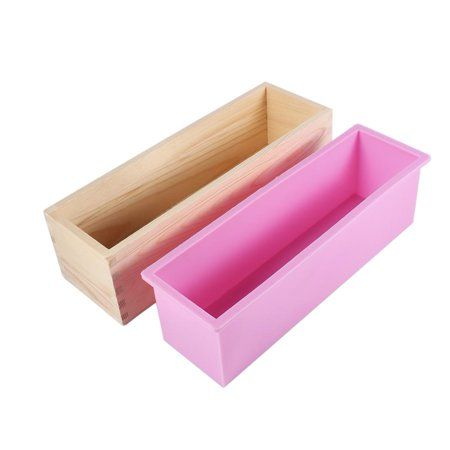 Rectangle Toast Loaf Bread Soap Cake Wooden Box Silicone Mold Mould DIY 1200g #A