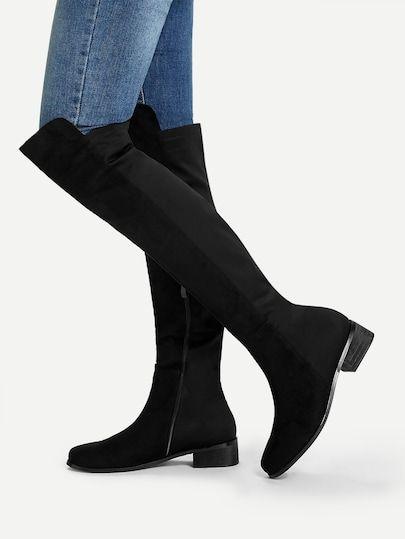 Knee Length Plain Boots -SheIn