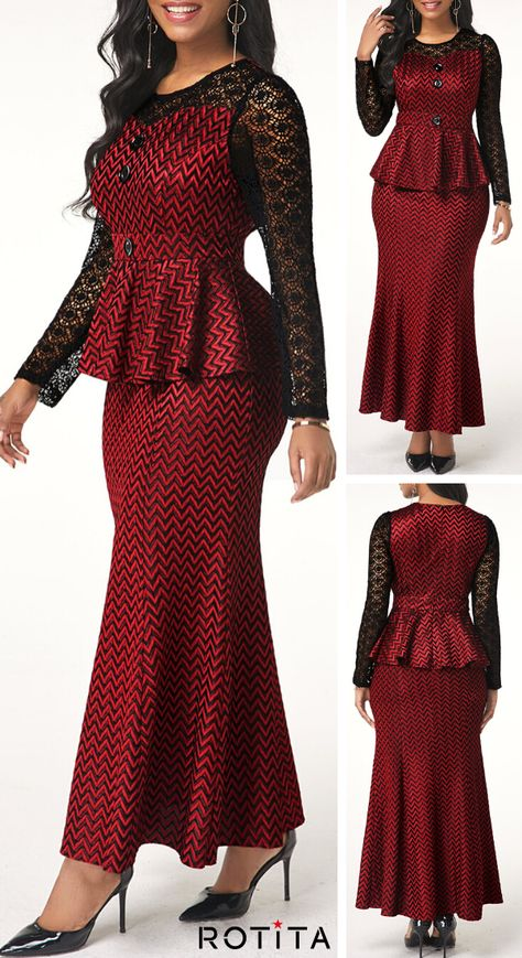 Faux Two Piece Lace Patchwork Long Sleeve Dress