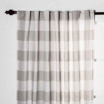 84 X54 Plaid Light Filtering Window Curtain Panel Cream Light