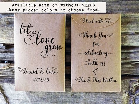 Let Love Grow Seed Packets, Seed Packet Wedding Favors, Personalized Seed Packets, Seed Packet Envelopes, Custom Favor Seed Packets