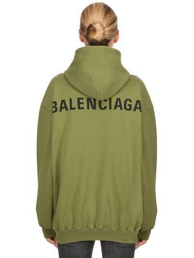 7fc168d570b1 BALENCIAGA, Logo printed jersey sweatshirt hoodie, Olive green, Luisaviaroma