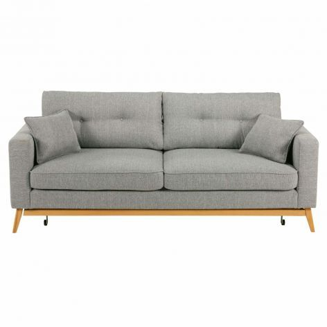 Scandinavian 3 Seater Light Grey Fabric Sofa Bed Brooke Grey