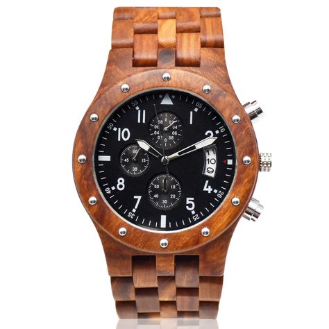 New Chronograph Wood Watch Men Wristwatch from EcVendor