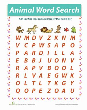 Animals In Spanish Word Search Worksheet Education Com Learn Another Language Spanish Writing Learn A New Language