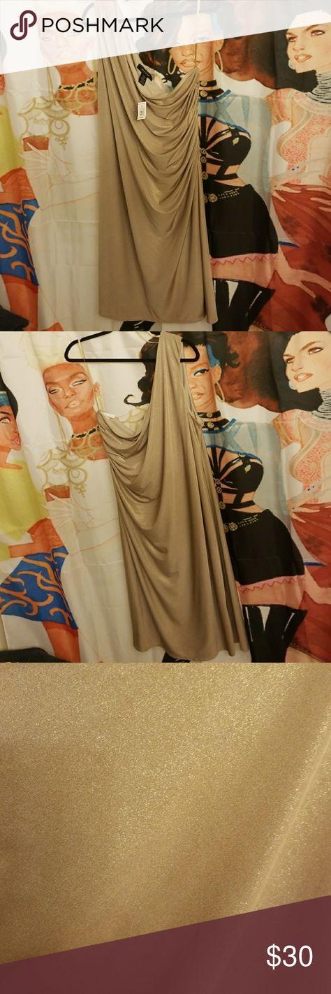 2f9509bed2a Ashley stewart honey gold one shoulder dress nwt