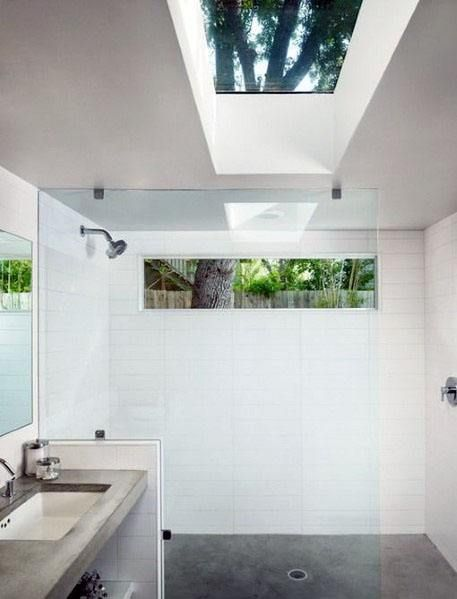 Top 70 Best Shower Window Ideas Bathroom Natural Light Window In Shower Skylight Bathroom Concrete Bathroom