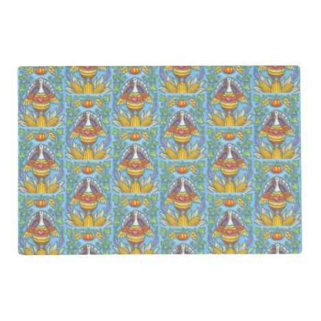 Folk Art Thanksgiving Turkey Placemat Holiday Thanksgiving Happythanksgiving 2019 Custom Placemats Placemats Custom Holiday Card