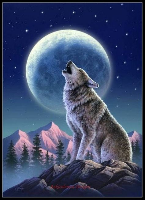ArtWall 'Wolf Moon' by Jerry Lofaro Graphic Art on Wrapped Canvas Size: