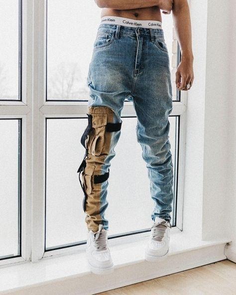 Strapped Denim Cargo Pants – fuzzishot