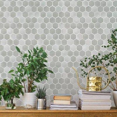 Hexagon Tile Chrome Self Adhesive Removable Wallpaper Tempaper Hexagon Tiles Removable Wallpaper Self Adhesive Wallpaper