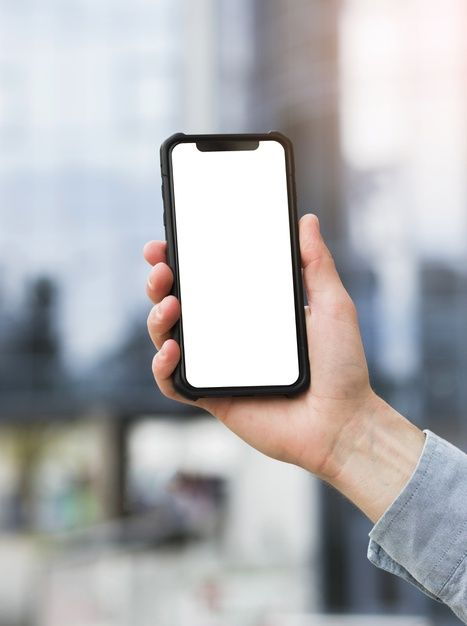 Close Up Of Businessman S Hand Holding Mobile Phone With White Screen Display Free Photo Photoshop Design Ideas Black Background Images Hand Phone