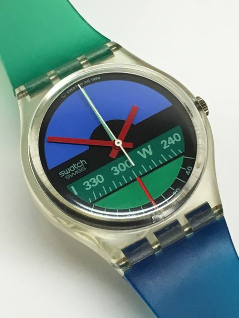 Items similar to Swatch Watch Vintage Nautilus Variant 1986 Blue Green Compass Clear Skeleton Jelly Retro Swatch Watch Easter Gift on Etsy