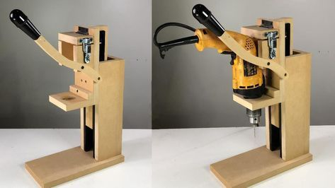 Taladro De Banco Casero Fácil Idea Brillante Homemade Drill Press Taladro De Banco Casero Banco De Trabajo De La Madera Herramientas Manuales De Carpintería