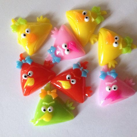 Colorful Triangle Mean Birds Resin Flat Back Cabochon Craft Supplies