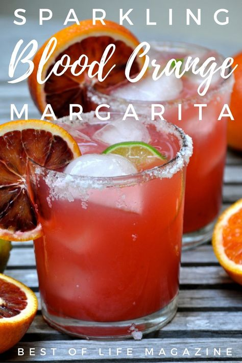 freshly squeezed blood oranges and limes, this sparkling blood orange margarita adds a refreshing twist to a classic cocktail. Blood Orange Vodka, Blood Orange Cocktail, Blood Orange Margarita, Orange Drinks, Rose Cocktail, Halloween Cocktails, Fun Cocktails, Cocktail Recipes, Drink Recipes