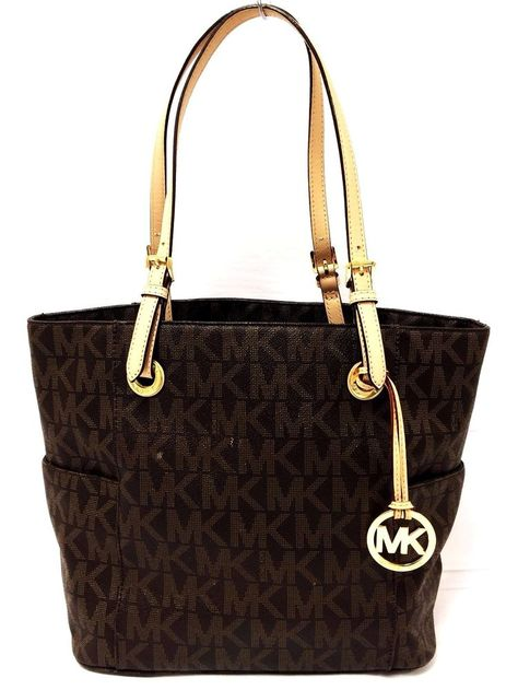 e9123650bfa3 Michael Kors Jet Set East West Signature Brown PVC Logo Tote  MichaelKors   TotesShoppers