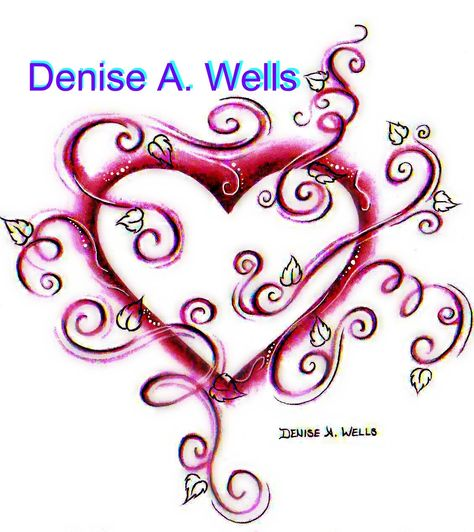 Valentines Heart Tattoo by Denise A. Wells made with swirls, leaves, filigree.