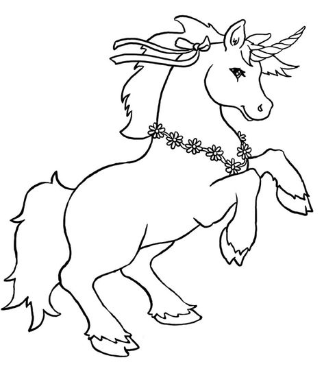 Unicorn With Flower Necklace Coloring Pages Unicorn Cartoon