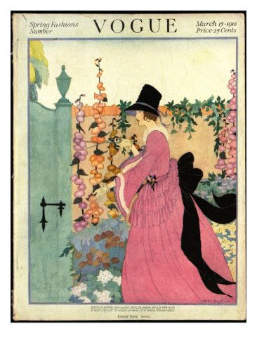 Vogue Cover - March 1918    Illustration of woman in pink dress, black sash and hat, clipping morning glories from a garden wall - SPRING FASHIONS NUMBER.