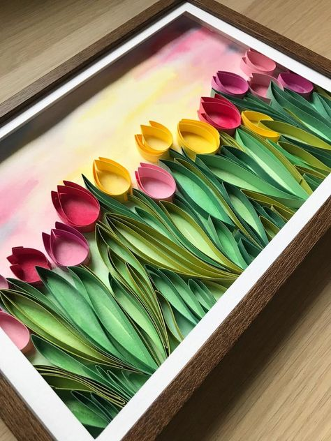 Field of tulips Quill Paper Art Framed Floral Decor Quilling Work, Neli Quilling, Quilling Paper Craft, Paper Crafts Origami, Paper Quilling Jewelry, Paper Quilling Cards, Paper Quilling Patterns, Quilled Paper Art, Quilling Flowers Tutorial