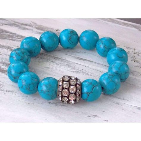 This beautiful simple, chunky andmighty beaded #bracelet features reconstructed #turquoise and a rhinestone focal bead. It has the perfect amount of sparkle and will look gr... #boho_jewelry #clearance:y #jewelry #nin:t1 #nin:y