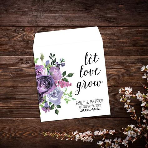 Seed Favor, Purple Flowers, Custom Wedding Favor, #seedfavor #seedpackets #custom #weddingfavor #personalizedfavor #seedpacketfavor #letlovegrowfavor #seedweddingfavor #bridalshowerfavor #seedenvelopes #customseedpackets #purplewedding #purpleflowers