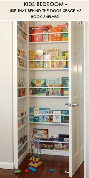 Behind the door book shelves - for kids' closet door corners